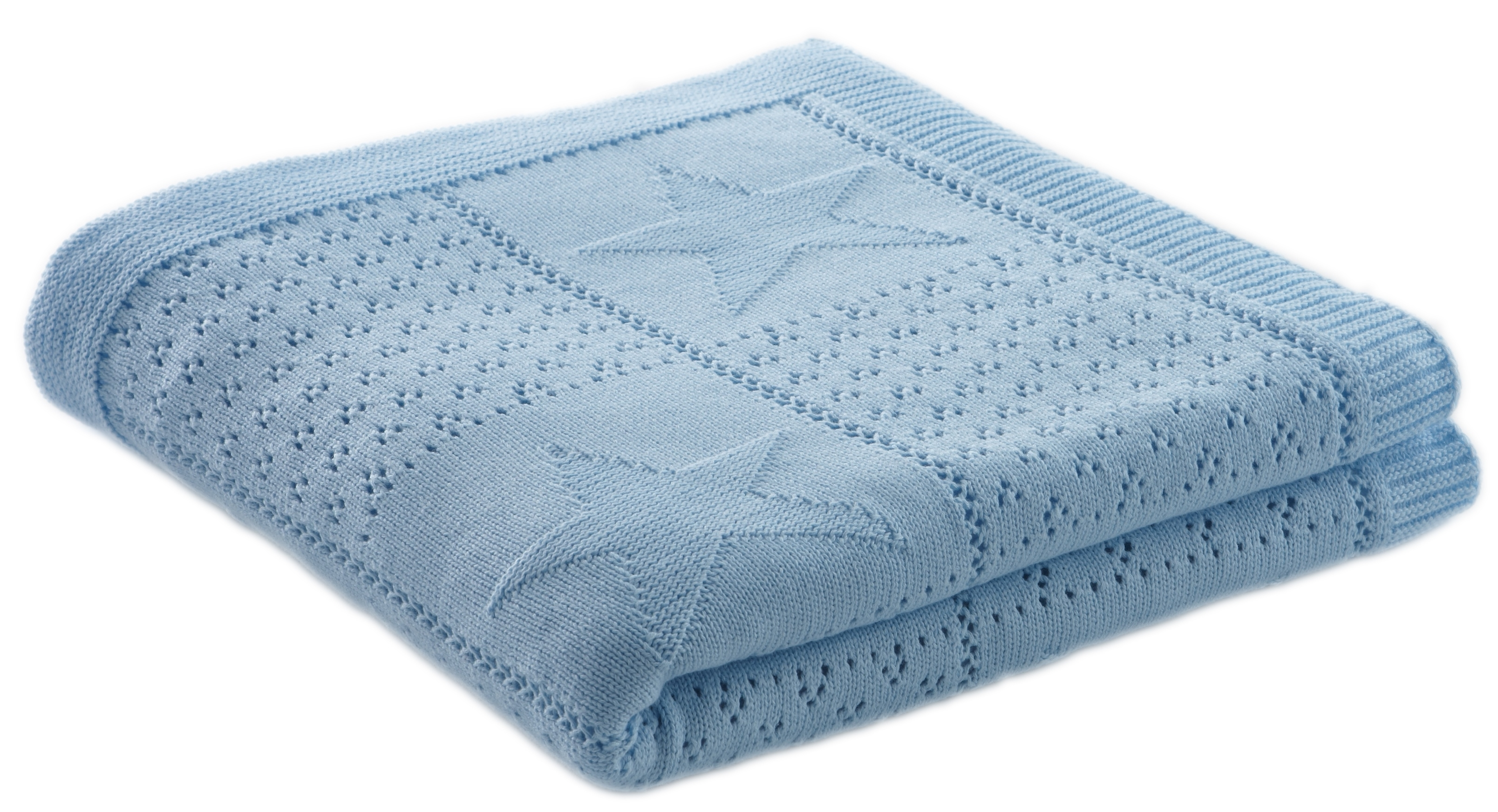 Couverture tricot coton bleu ciel etoiles doux nid - Couverture en coton ...