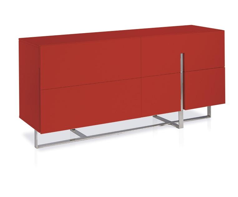 buffet 4 portes laqu rouge et acier inoxydable dezina. Black Bedroom Furniture Sets. Home Design Ideas