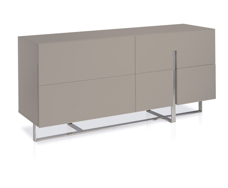 Commode laqu taupe et pieds chrom s 4 portes dezina - Commode couleur taupe ...