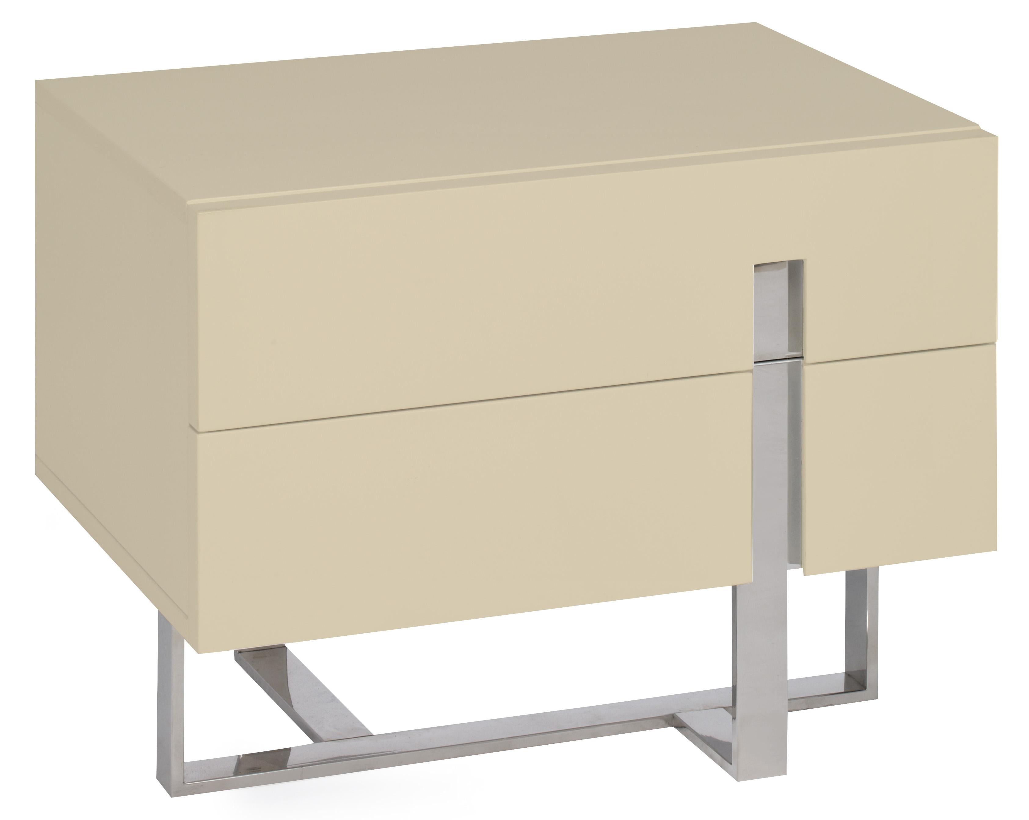 table de chevet moderne cr me laqu et acier dezina. Black Bedroom Furniture Sets. Home Design Ideas