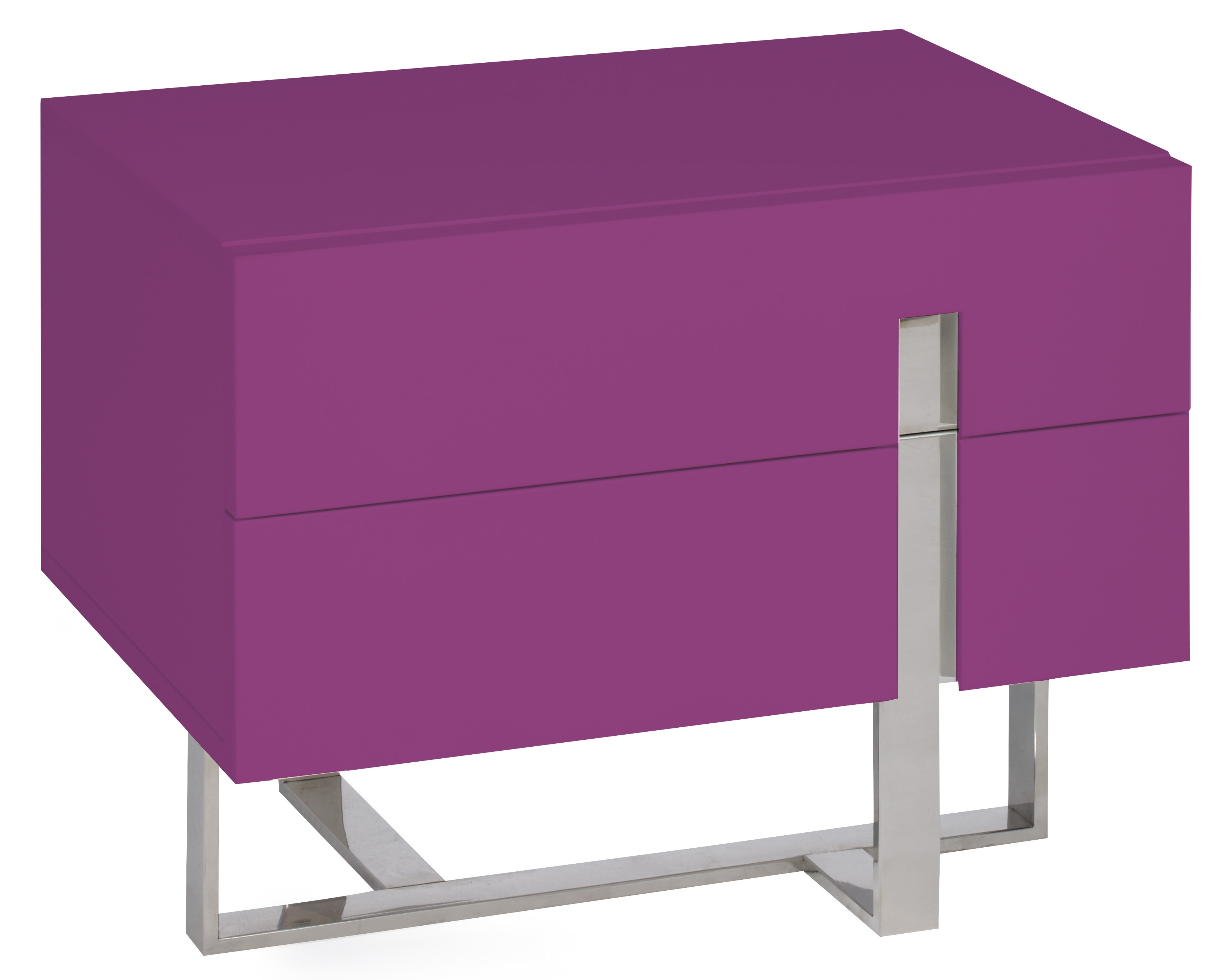 table de chevet moderne fuchsia laqu et acier dezina. Black Bedroom Furniture Sets. Home Design Ideas