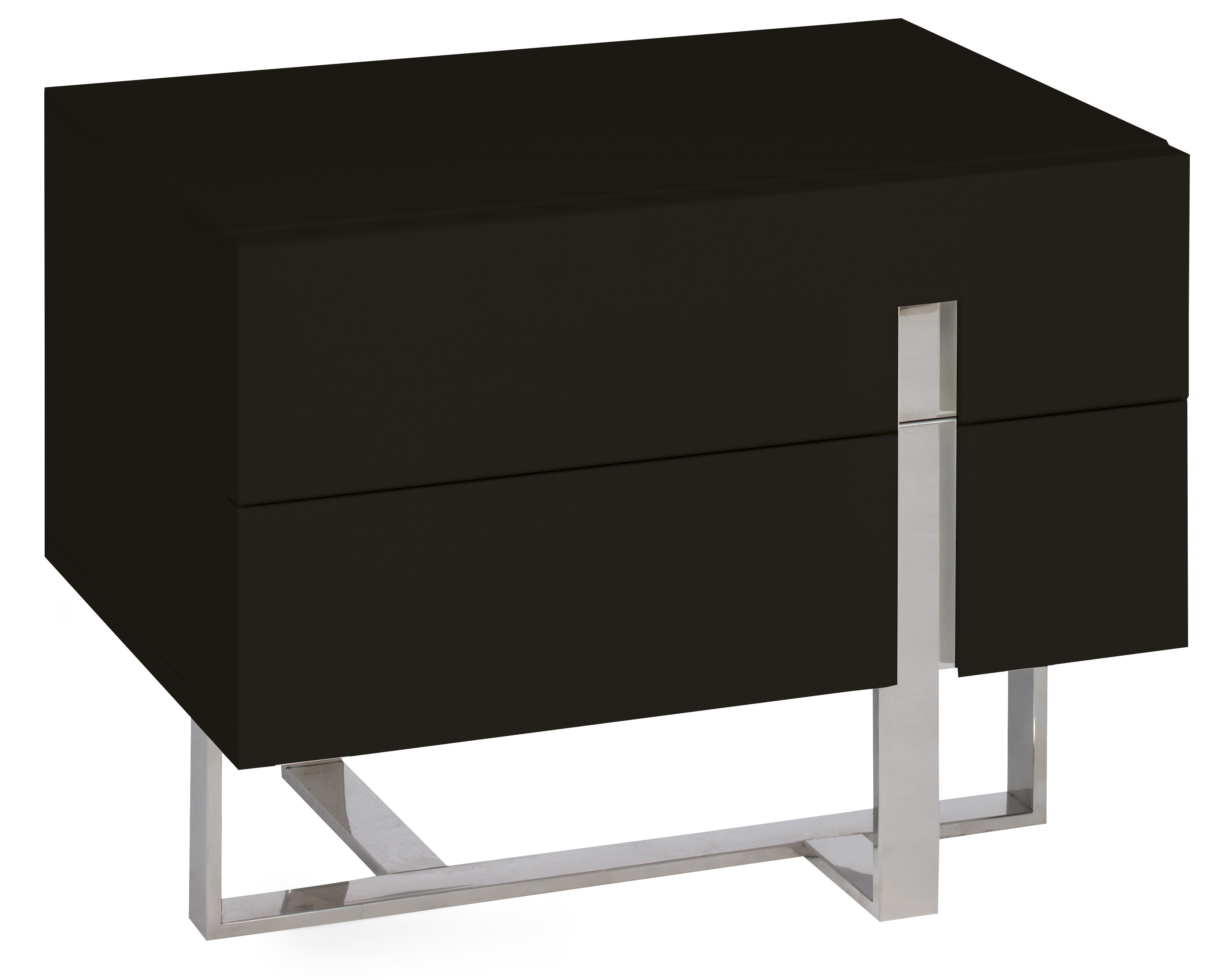 table de chevet moderne noir laqu et acier dezina. Black Bedroom Furniture Sets. Home Design Ideas