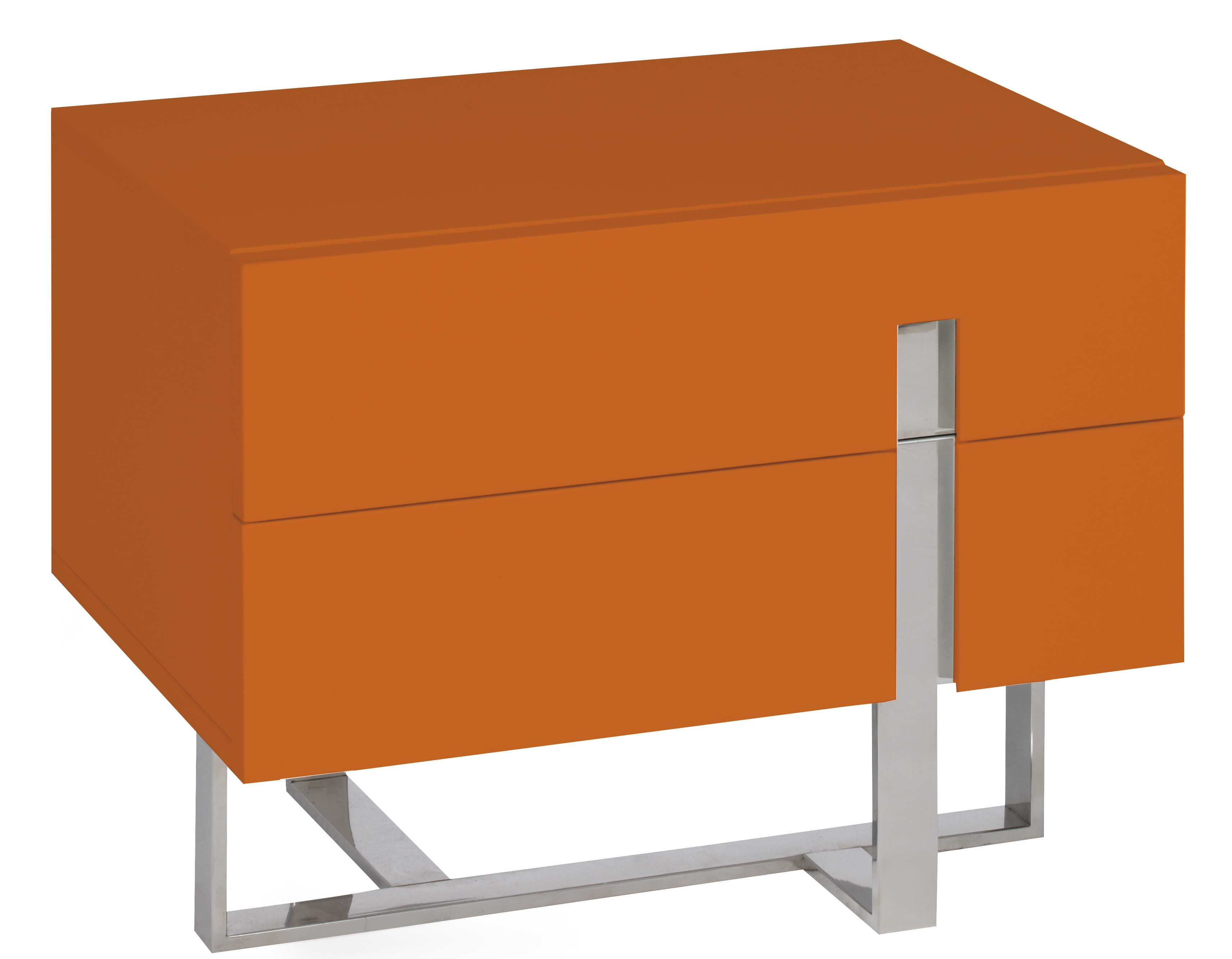 Table de chevet moderne orange laqu et acier dezina - Table de chevet laque ...