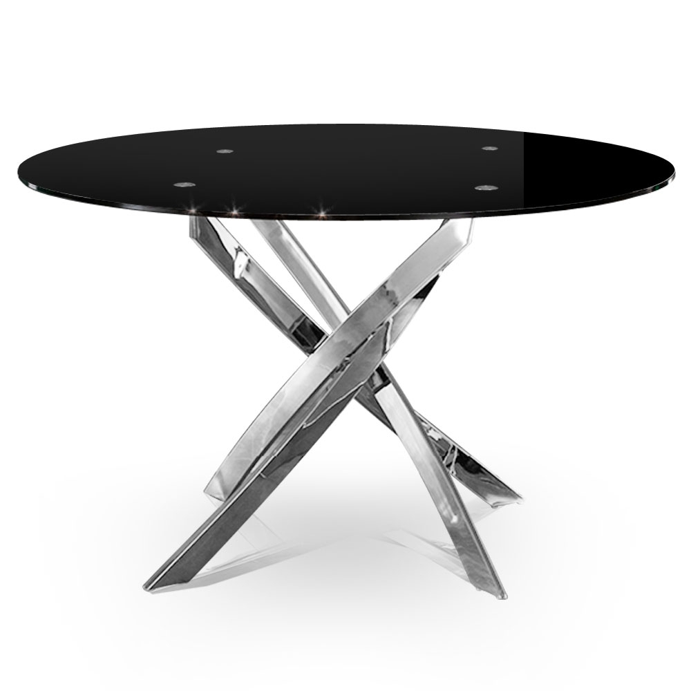 Table de s jour ronde en verre claudia Table ronde sejour