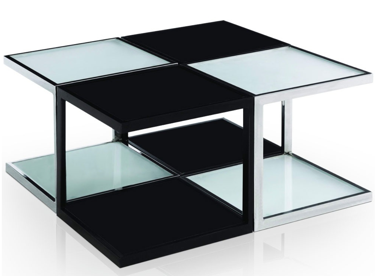 table basse carr e modulable noir et blanc kiabi. Black Bedroom Furniture Sets. Home Design Ideas