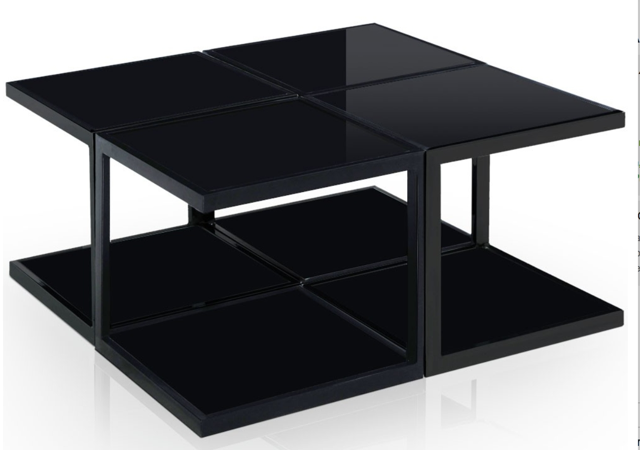 table basse carr e modulable verre noir et inox kiabi. Black Bedroom Furniture Sets. Home Design Ideas