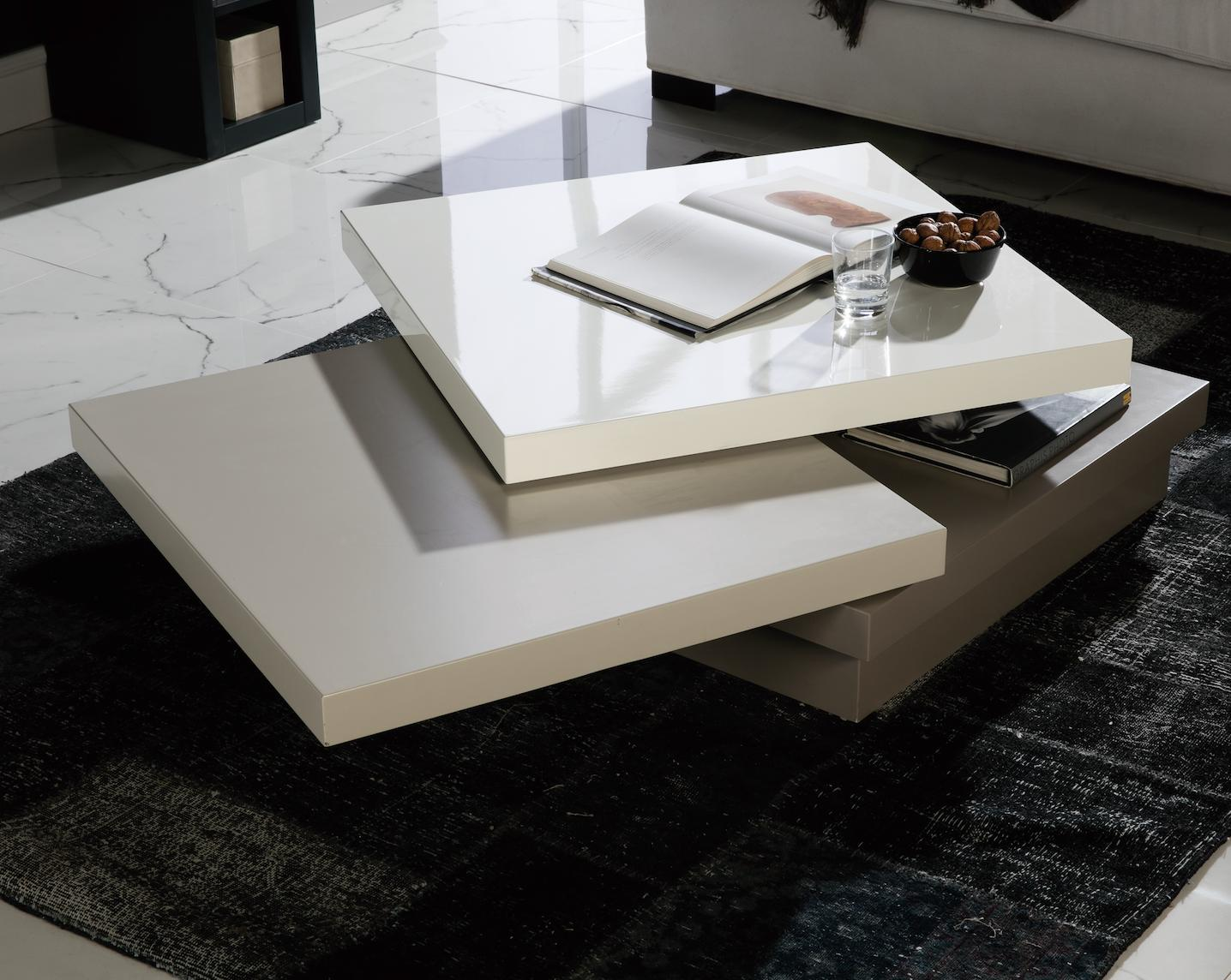 table basse carr e pivotante laqu blanc gris et taupe. Black Bedroom Furniture Sets. Home Design Ideas