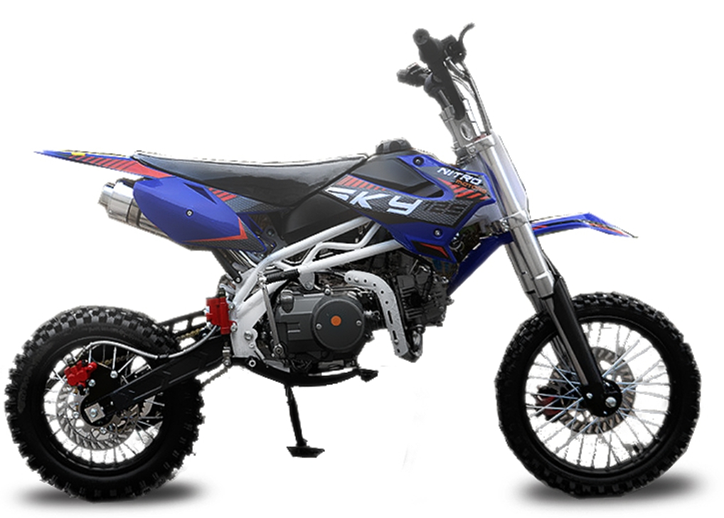 dirt bike 125cc sky 17 14 automatique 4 temps e start bleu. Black Bedroom Furniture Sets. Home Design Ideas