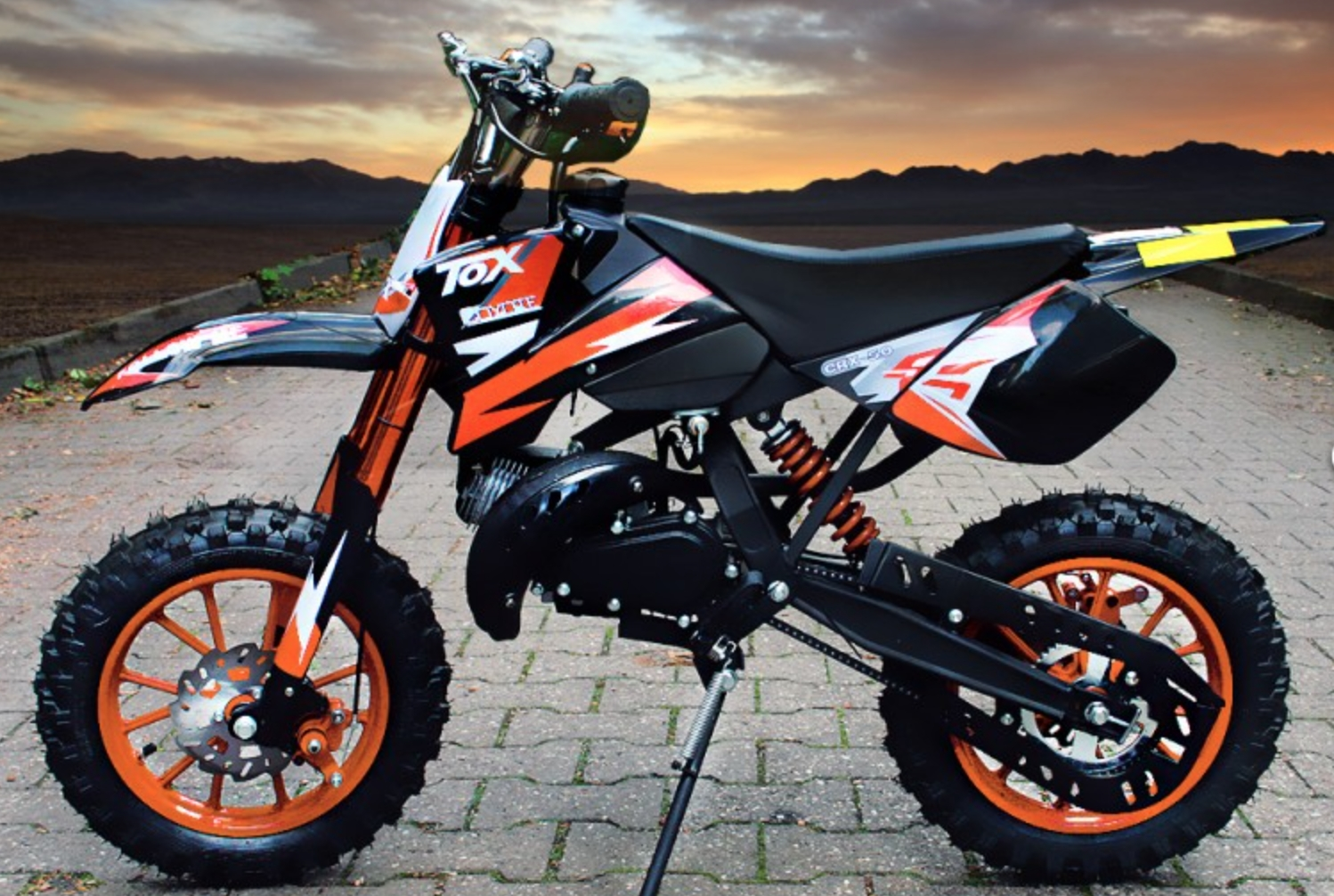 dirt bike 49cc sport 10 10 automatique e start orange. Black Bedroom Furniture Sets. Home Design Ideas