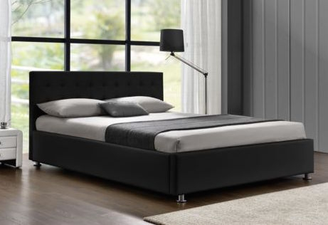 lit coffre capitonn simili noir 160 sleepa. Black Bedroom Furniture Sets. Home Design Ideas