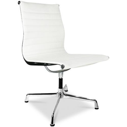 Chaise de bureau moderne cuir blanc busk for Chaise eames cuir