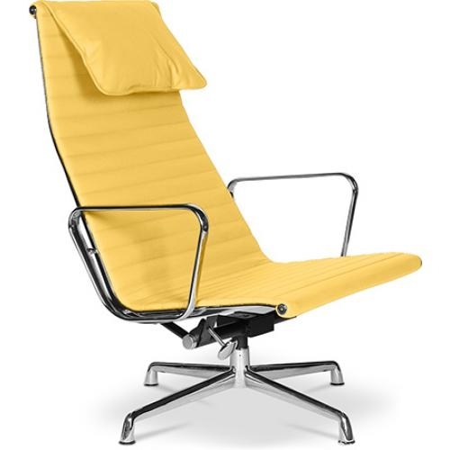 fauteuil de bureau design simili jaune offy. Black Bedroom Furniture Sets. Home Design Ideas