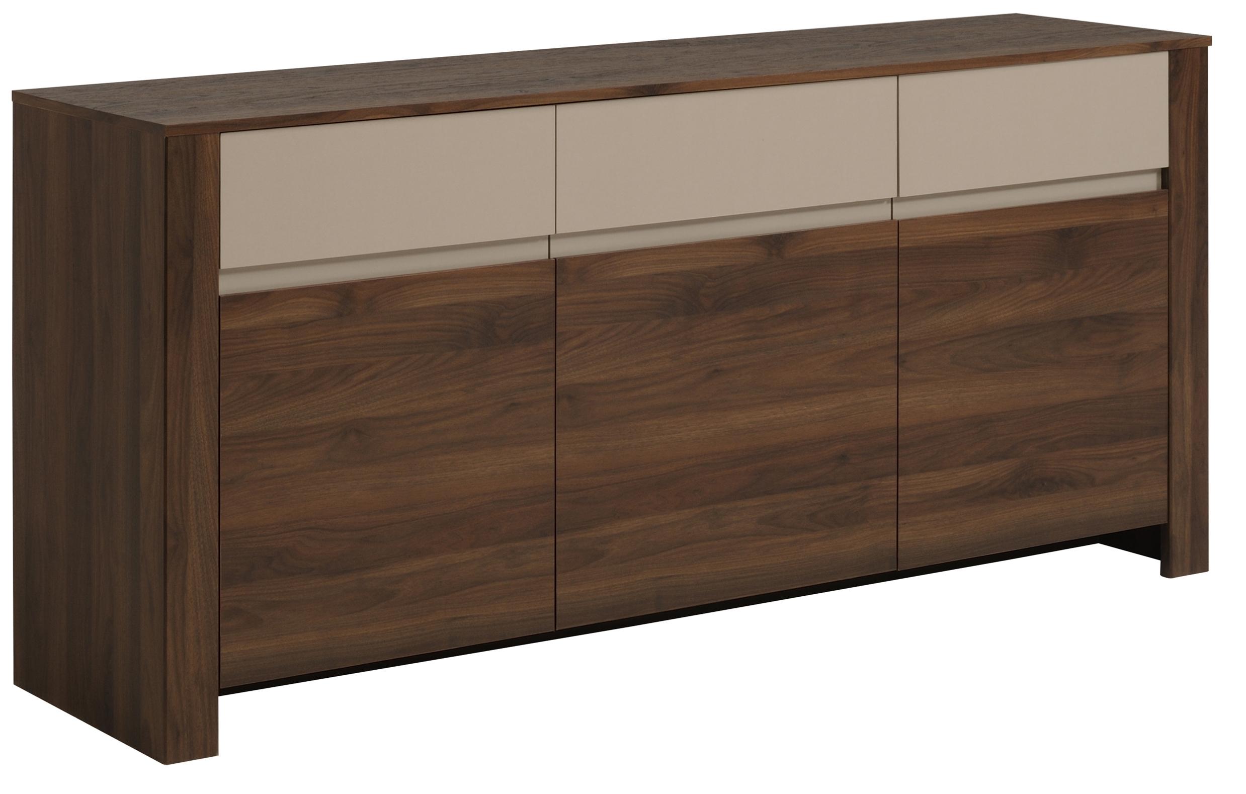 enfilade 3 portes 1 tiroir noyer brazil et beige habitat. Black Bedroom Furniture Sets. Home Design Ideas