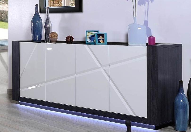 Enfilade laqu e blanche et grise 4 portes led quartz - Enfilade laque blanc ...