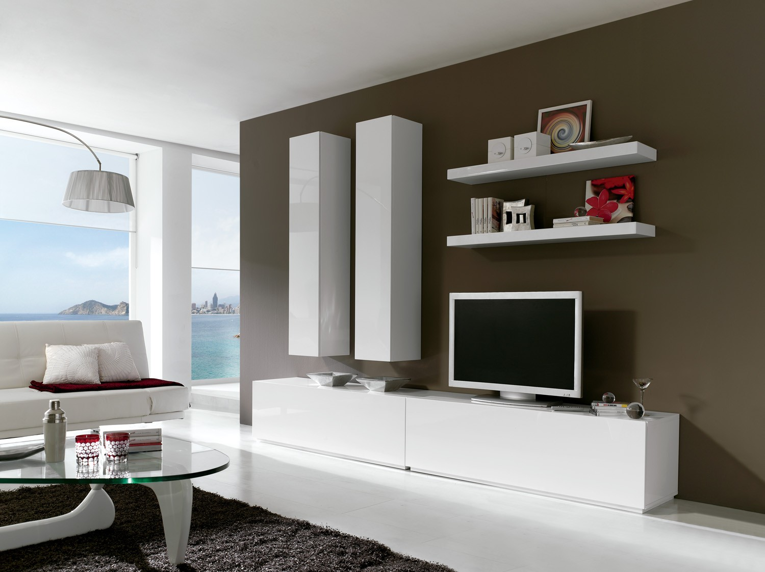 ensemble 6 meubles tv modulables blanc laqu mat kalxia. Black Bedroom Furniture Sets. Home Design Ideas