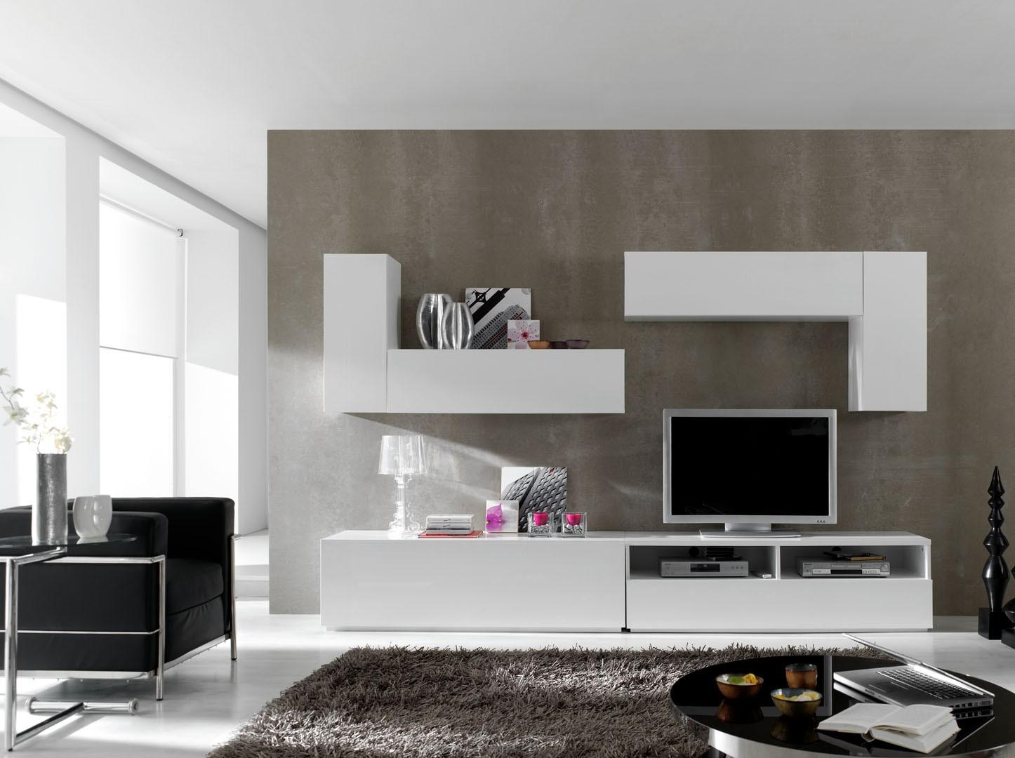 ensemble 6 meubles tv modulables blanc laqu mat valencia. Black Bedroom Furniture Sets. Home Design Ideas