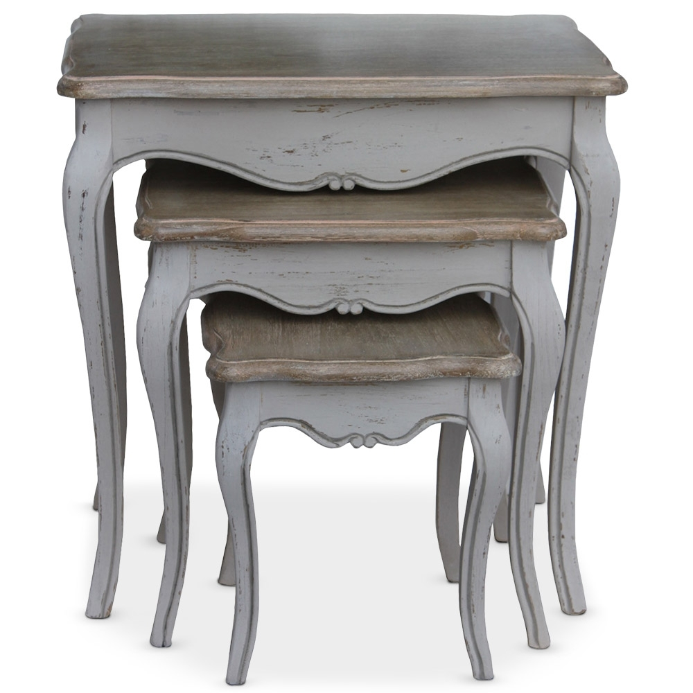 table d 39 appoint gigogne gris renaissance. Black Bedroom Furniture Sets. Home Design Ideas