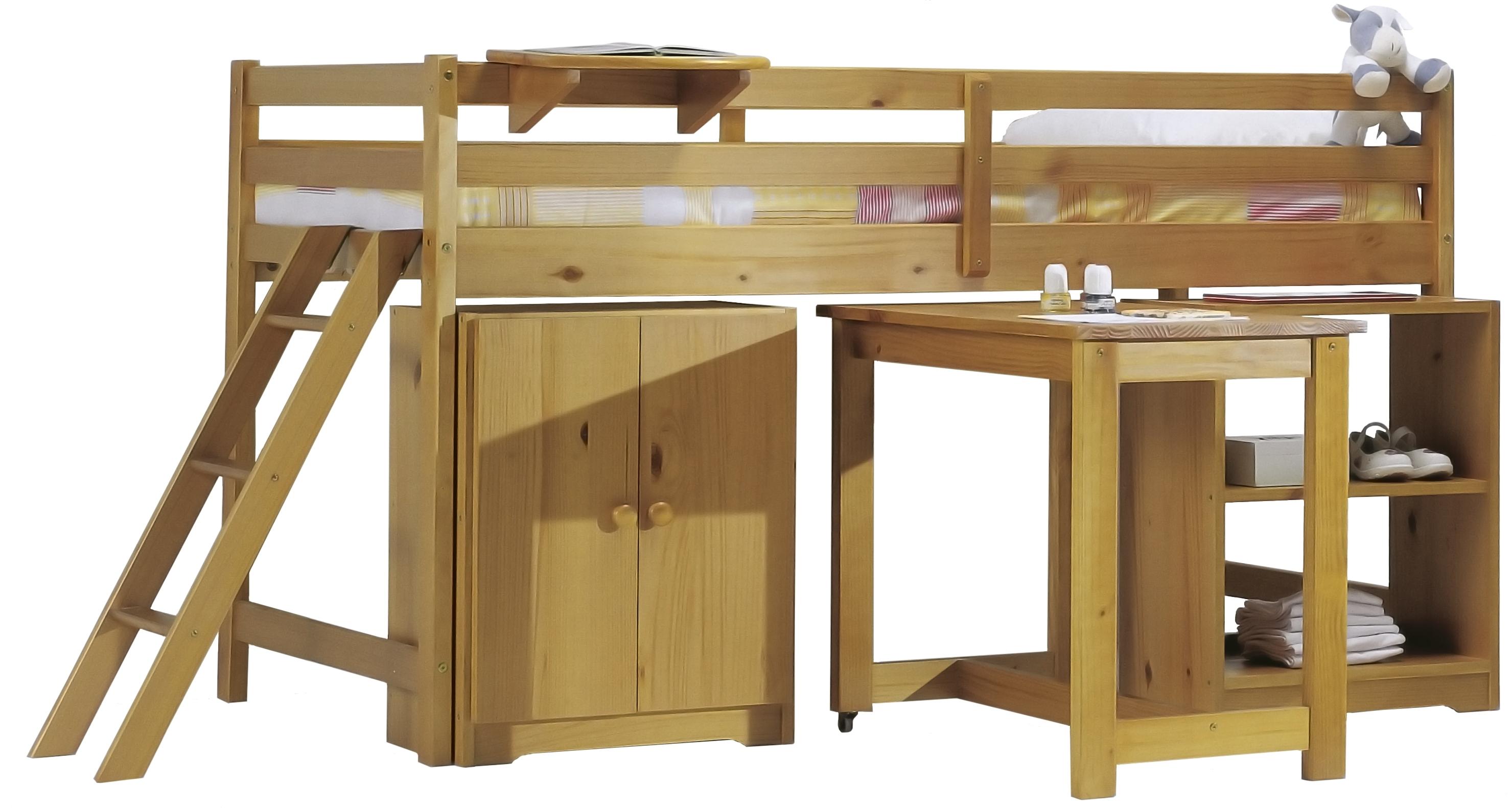 Ensemble lit mezzanine 90 x190 cm pin massif miel cabine - Lit mezzanine pin massif ...