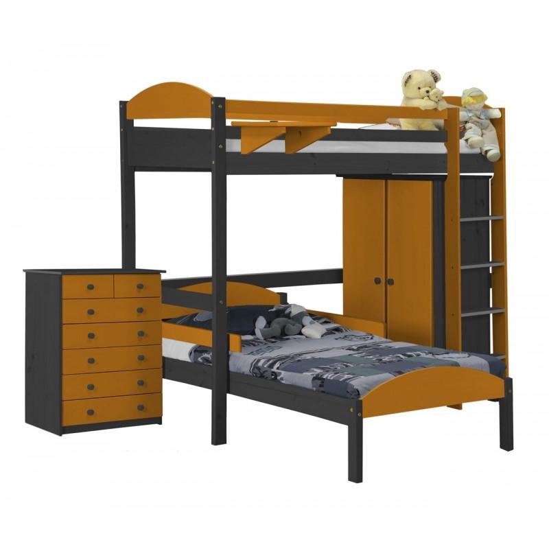 Ensemble lit mezzanine en l placard commode gris et for Lit mezzanine avec placard