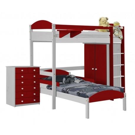 ensemble lit mezzanine en l placard commode pin blanc et rouge aladin. Black Bedroom Furniture Sets. Home Design Ideas
