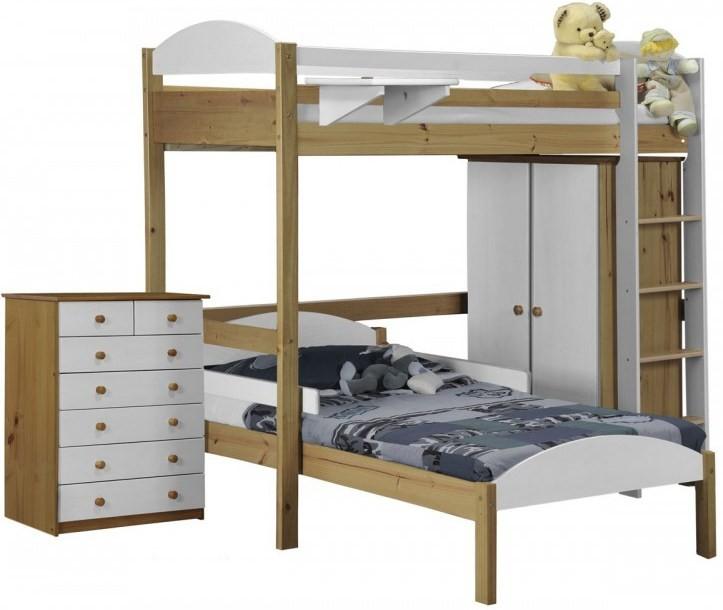ensemble lit mezzanine en l placard commode pin massif naturel et blanc aladin 90x190 cm. Black Bedroom Furniture Sets. Home Design Ideas
