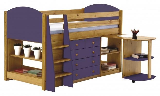 ensemble lit mi haut 90 x 190 cm miel et lilas verona. Black Bedroom Furniture Sets. Home Design Ideas