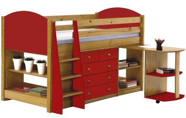 ensemble lit mi haut 90 x 190 cm miel et rouge verona. Black Bedroom Furniture Sets. Home Design Ideas