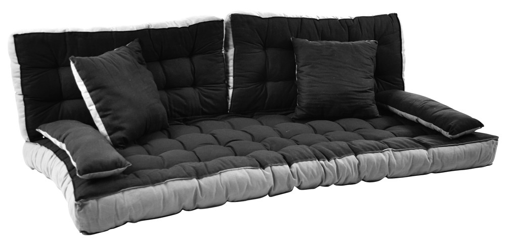 ensemble matelas avec coussins noir gris mezzapeigne. Black Bedroom Furniture Sets. Home Design Ideas