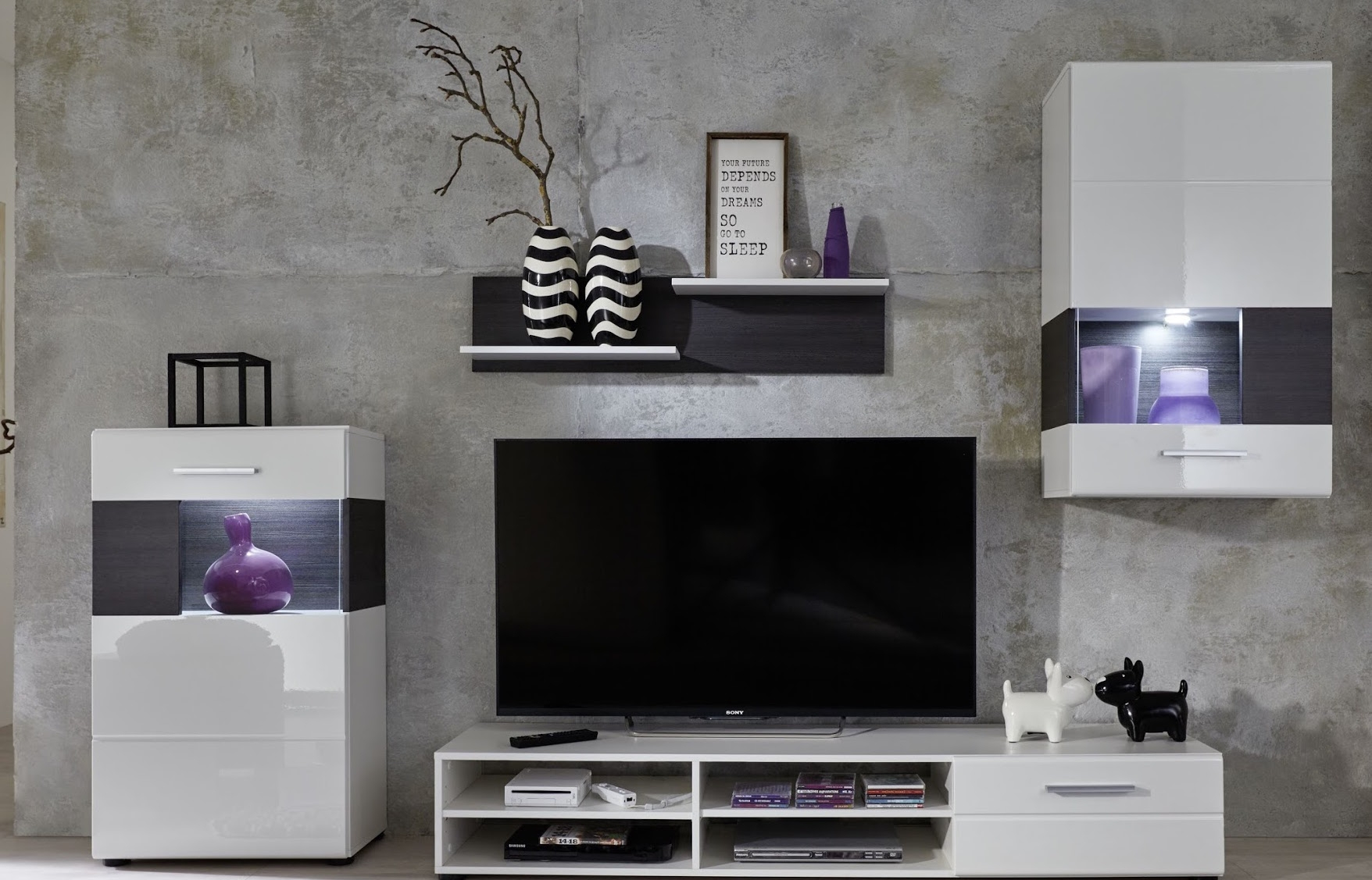 ensemble meuble tv laqu blanc led josky. Black Bedroom Furniture Sets. Home Design Ideas