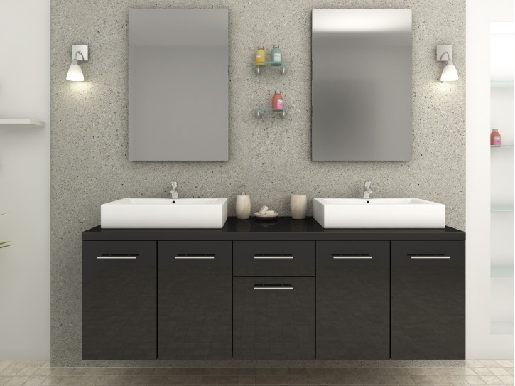 ensemble salle de bain double vasque noir laqu olga. Black Bedroom Furniture Sets. Home Design Ideas