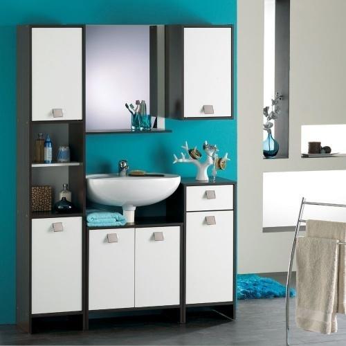 Ensemble salle de bain weng et blanc futuna for Colonne salle de bain wenge blanc
