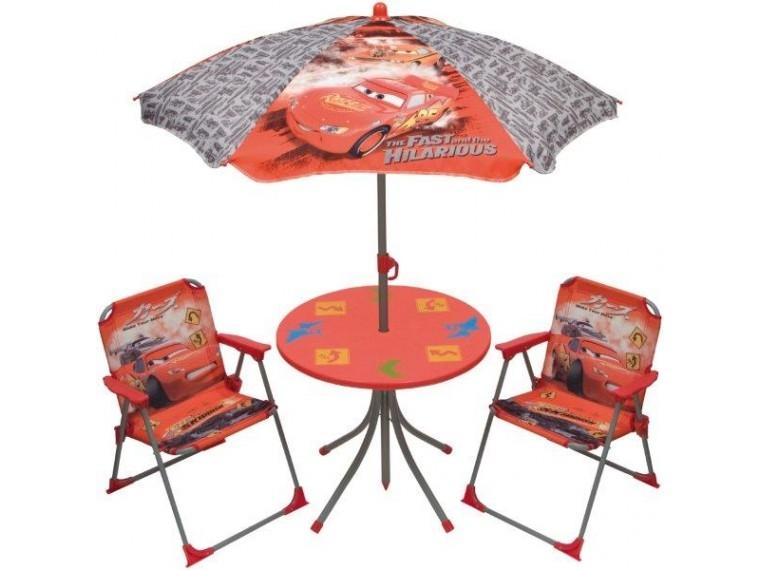 Ensemble Table, 2 chaises et parasol Cars - LesTendances.fr