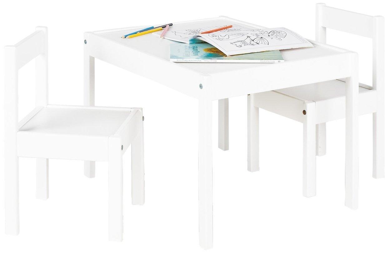 ensemble table et chaises enfant 3 pi ces pin massif et laqu blanc sina. Black Bedroom Furniture Sets. Home Design Ideas