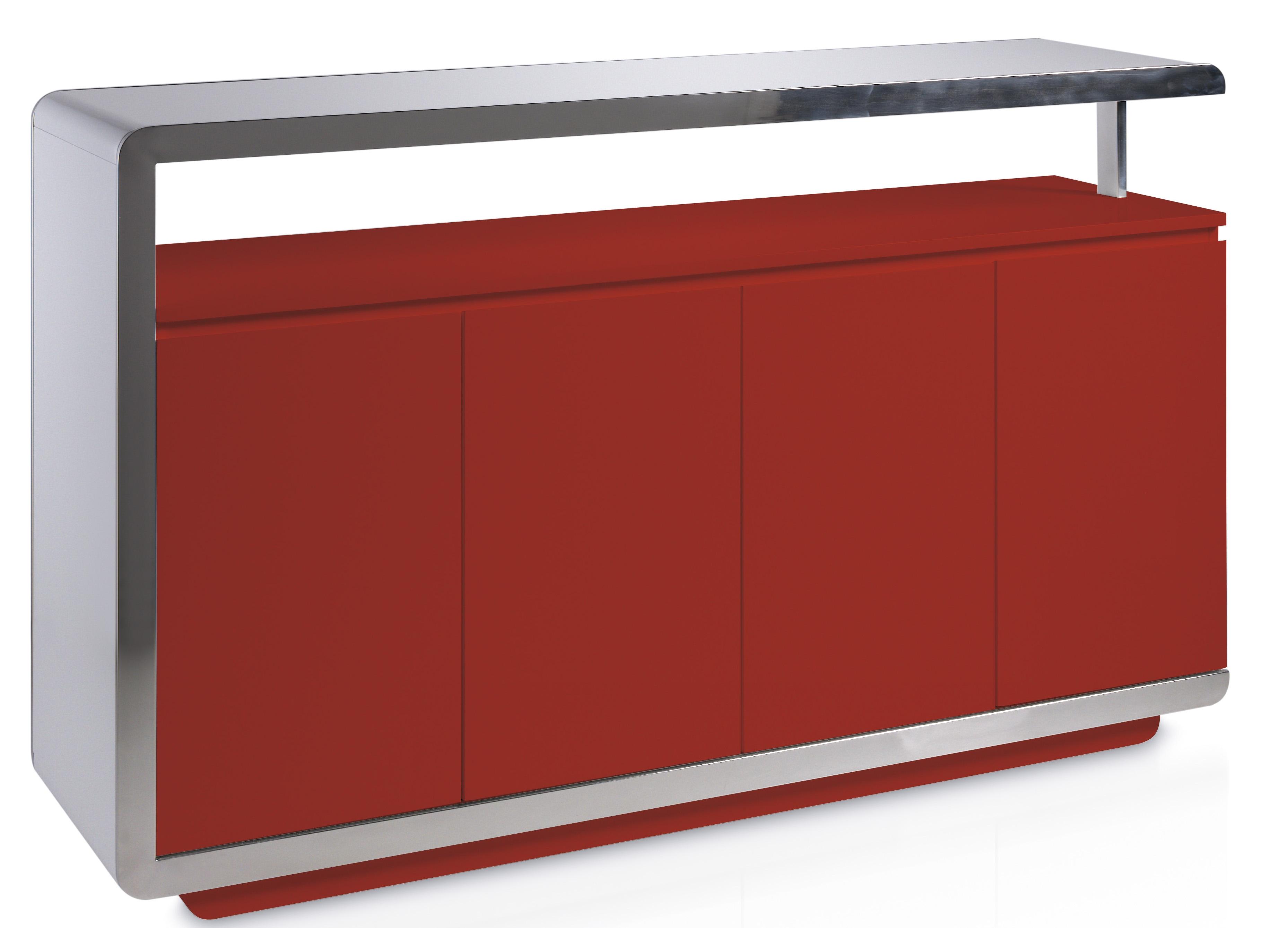buffet laqu rouge et acier inoxydable poli modena. Black Bedroom Furniture Sets. Home Design Ideas