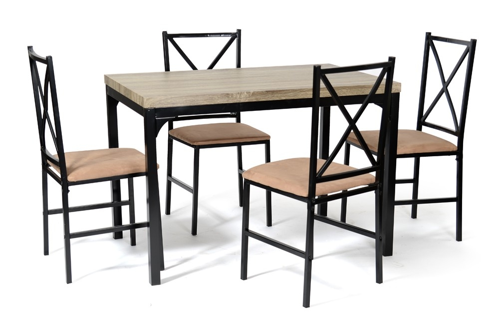 ensemble table 4 chaises noir et camel baris. Black Bedroom Furniture Sets. Home Design Ideas