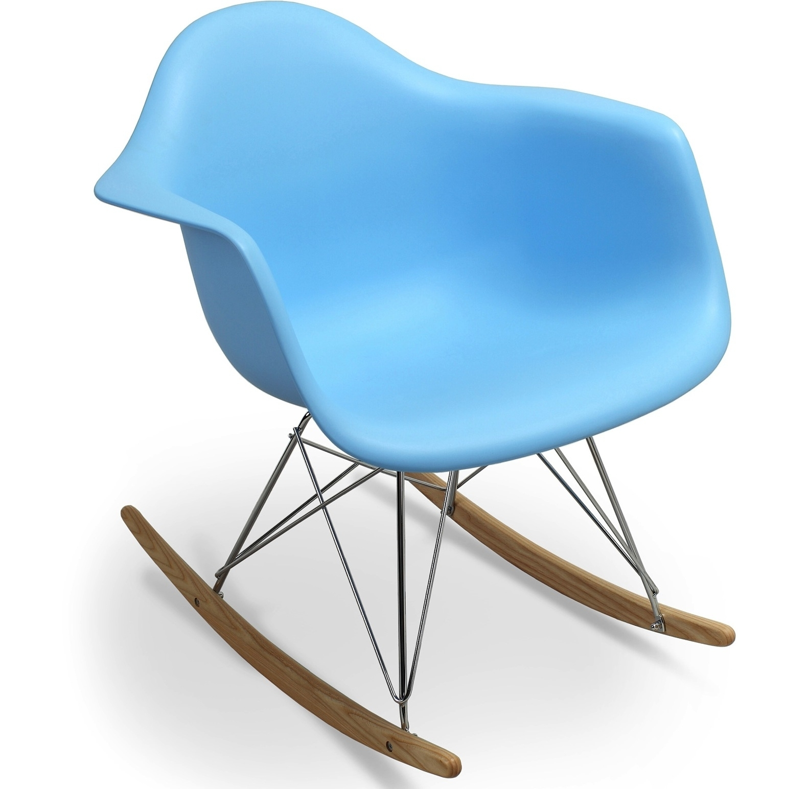 Fauteuil bascule bleu mat inspir e charles eames for Achat fauteuil charles eames