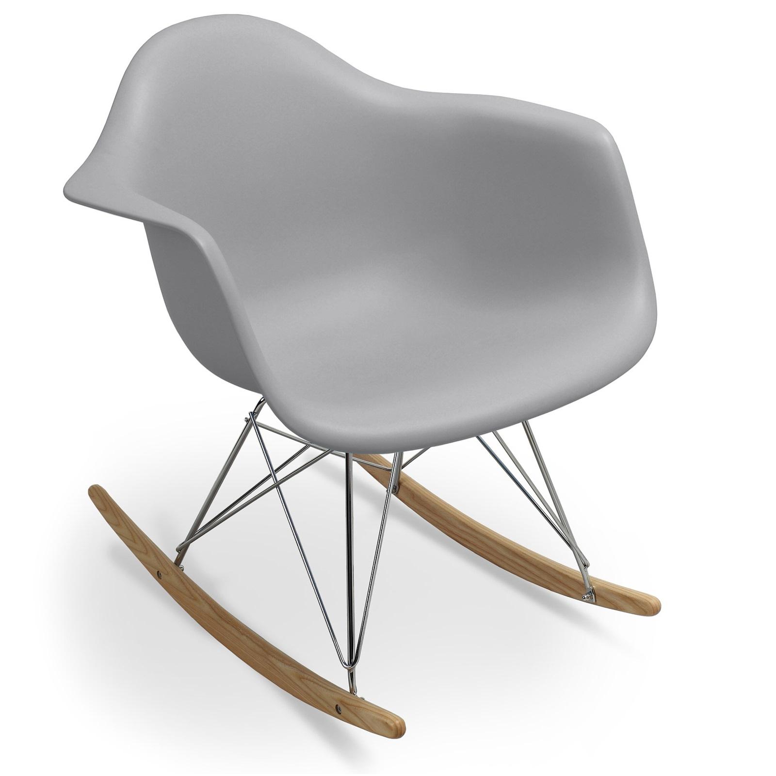 fauteuil à bascule gris clair mat inspirée charles eames ... - Chaise A Bascule Charles Eames