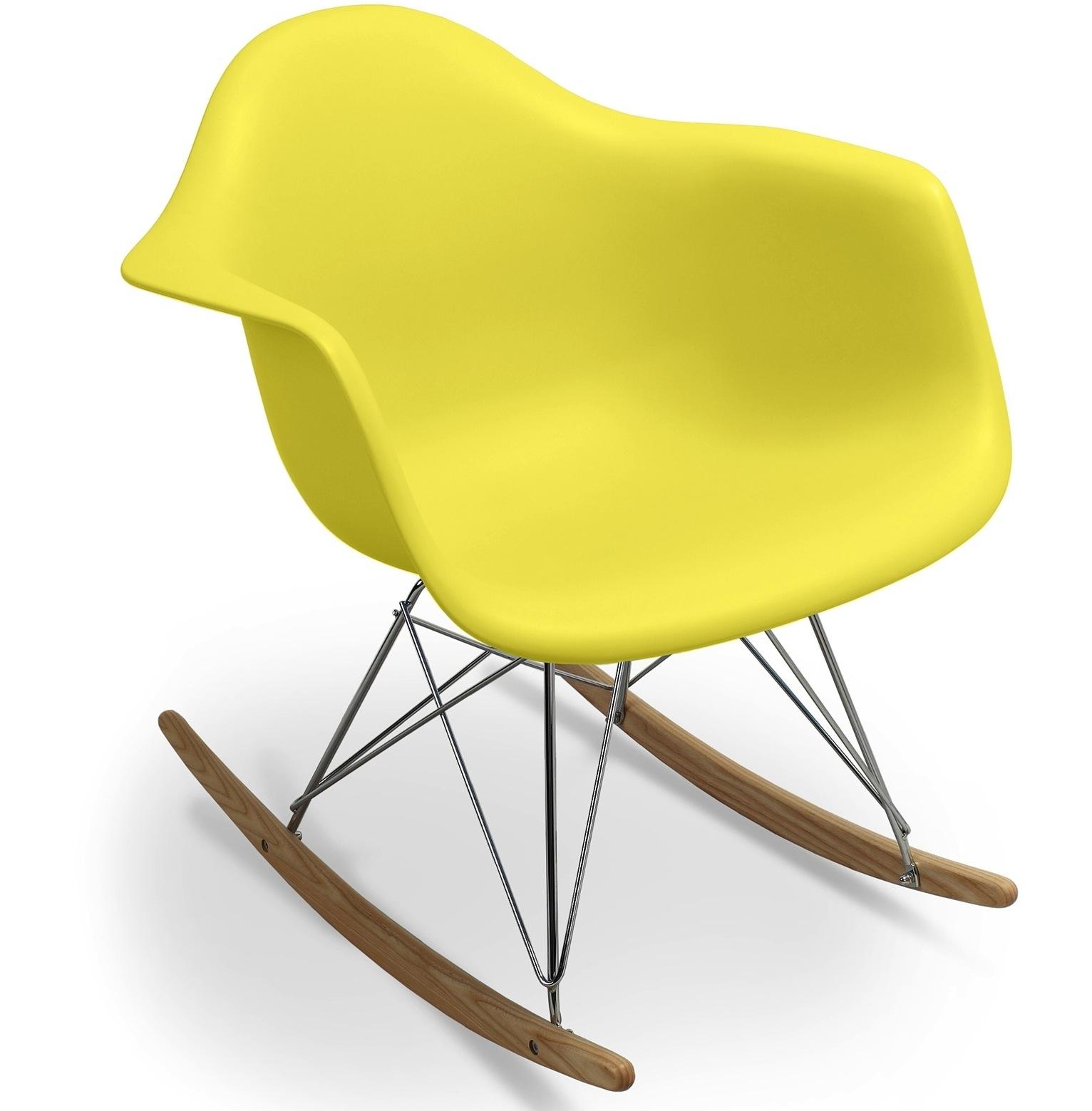 fauteuil bascule jaune mat inspir e charles eames. Black Bedroom Furniture Sets. Home Design Ideas