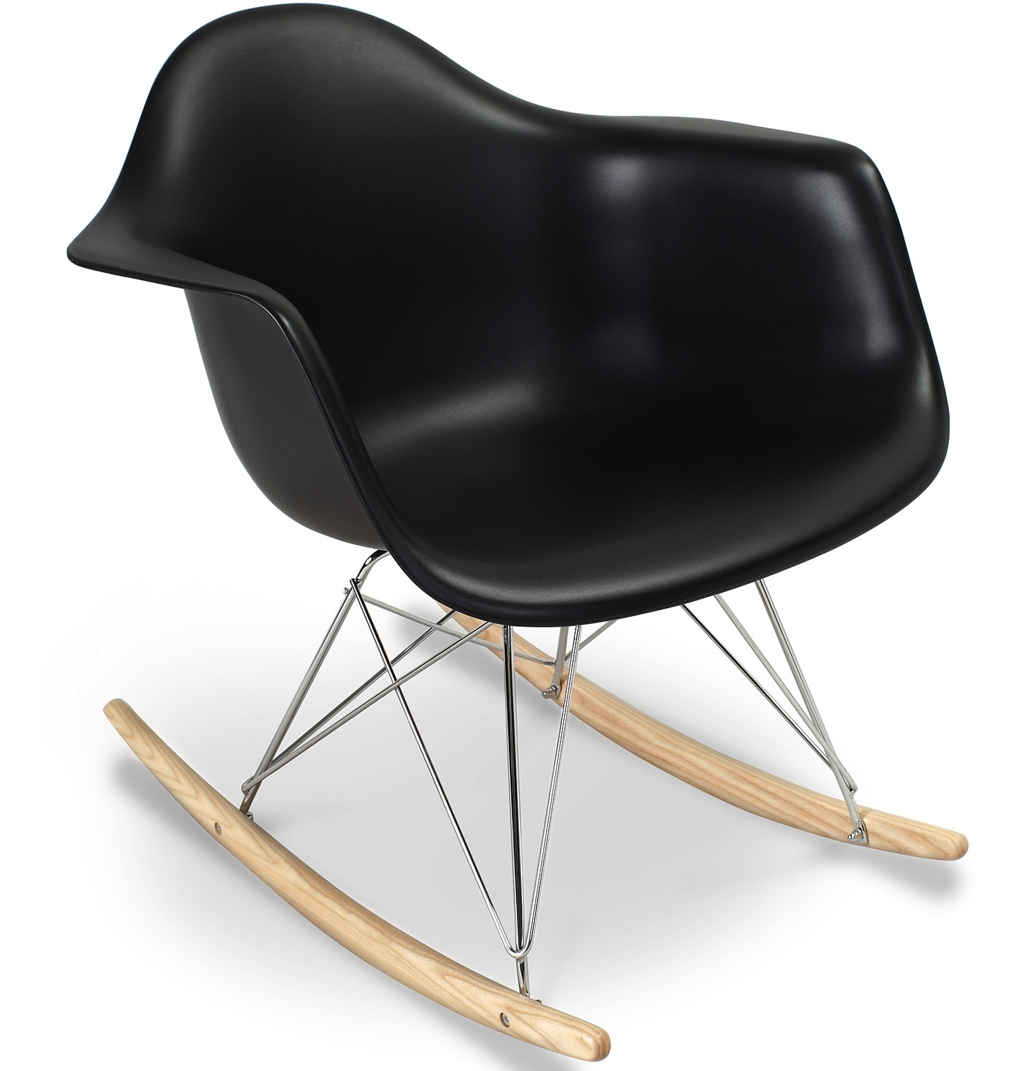 fauteuil bascule noir mat inspir charles eames. Black Bedroom Furniture Sets. Home Design Ideas