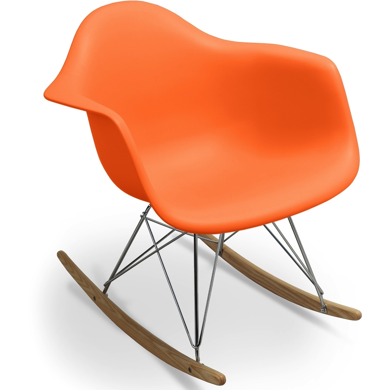 Fauteuil bascule orange mat inspir e charles eames - Fauteuil a bascule eames ...