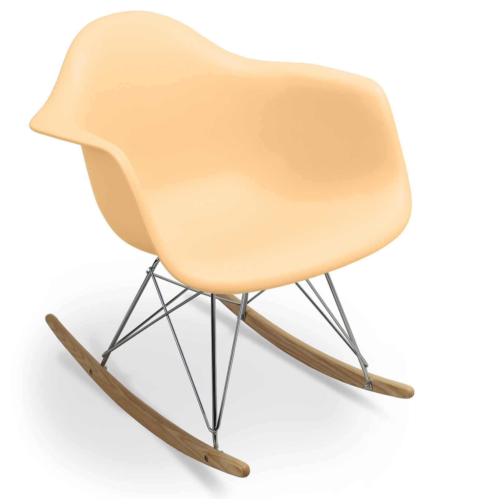 fauteuil bascule orange pastel mat inspir e charles eames. Black Bedroom Furniture Sets. Home Design Ideas