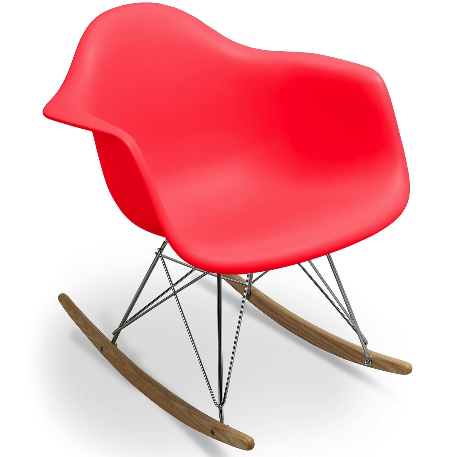 Fauteuil bascule rouge mat inspir charles eames for Achat fauteuil charles eames