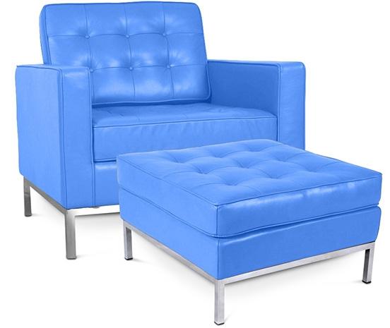 fauteuil avec ottoman capitonn simili bleu clair inspir florence knoll. Black Bedroom Furniture Sets. Home Design Ideas