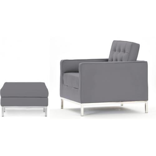 fauteuil avec ottoman tissu gris clair knoll. Black Bedroom Furniture Sets. Home Design Ideas