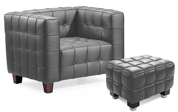 fauteuil capitonn avec ottoman simili gris master. Black Bedroom Furniture Sets. Home Design Ideas