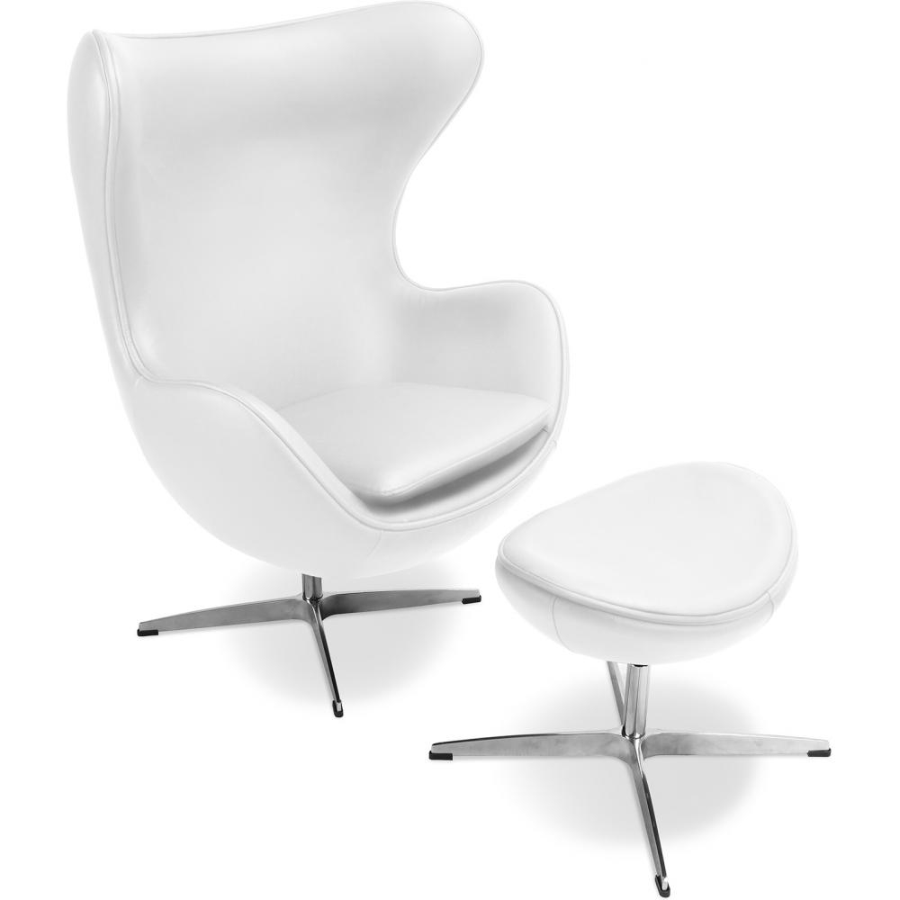fauteuil avec repose pieds cuir blanc ego. Black Bedroom Furniture Sets. Home Design Ideas