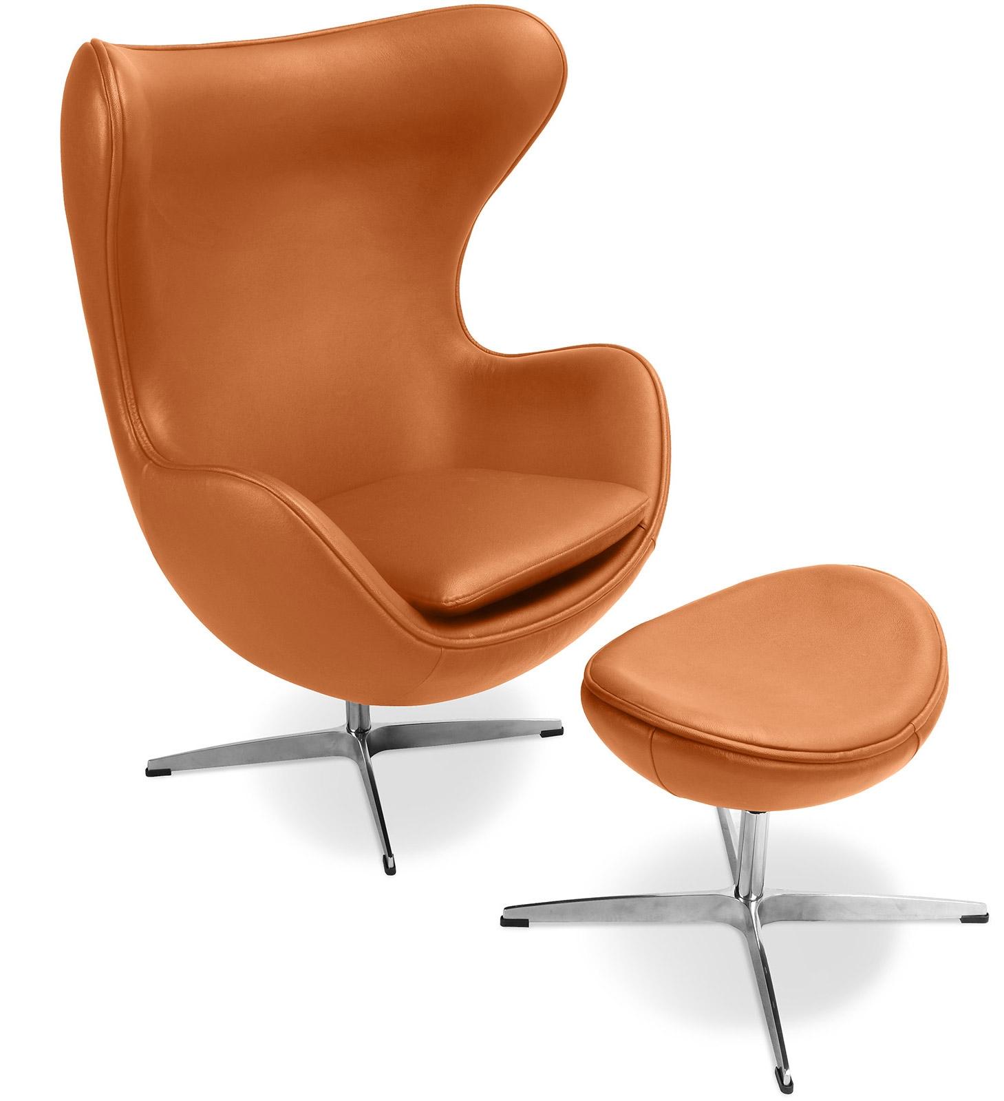 fauteuil avec repose pieds cuir camel ego. Black Bedroom Furniture Sets. Home Design Ideas