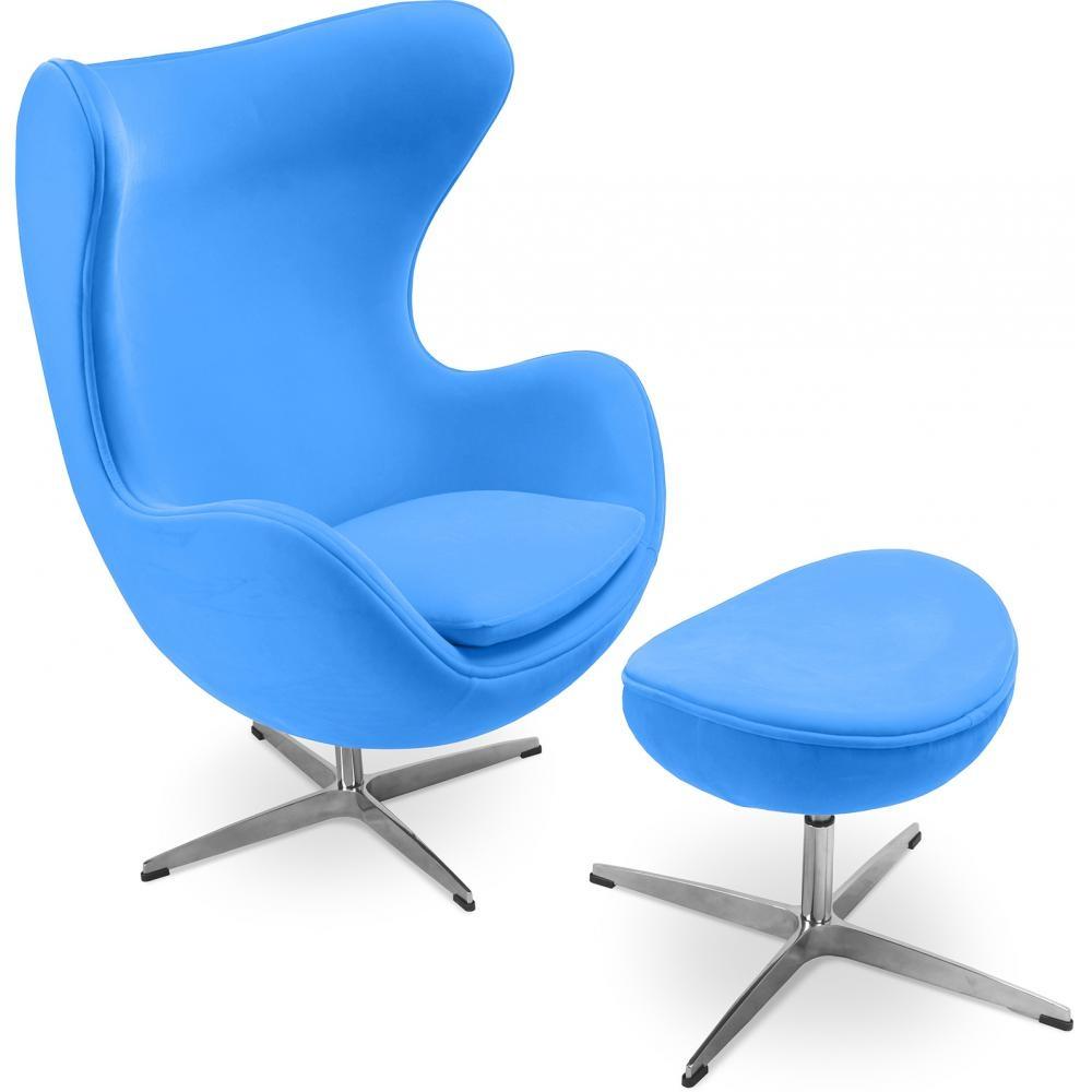 fauteuil avec repose pieds tissu bleu ciel ego. Black Bedroom Furniture Sets. Home Design Ideas