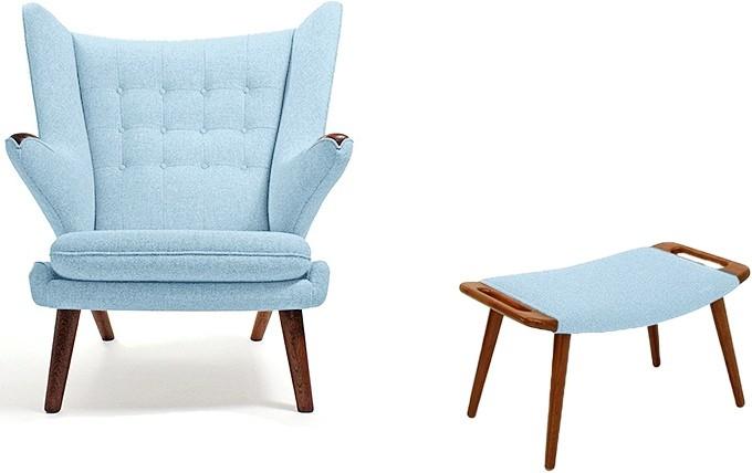 fauteuil avec repose pieds tissu bleu clair papa bear. Black Bedroom Furniture Sets. Home Design Ideas