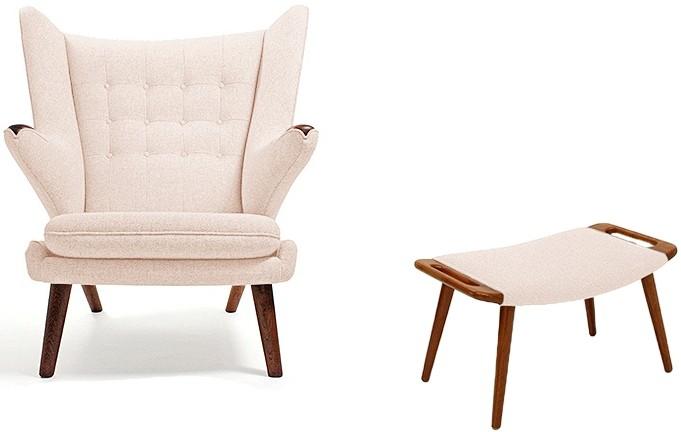 fauteuil avec repose pieds tissu ivoire papa bear. Black Bedroom Furniture Sets. Home Design Ideas